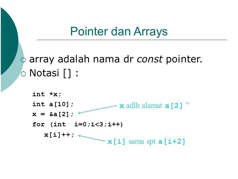 Pointer dan Arrays array adalah nama dr const pointer. Notasi [] :
